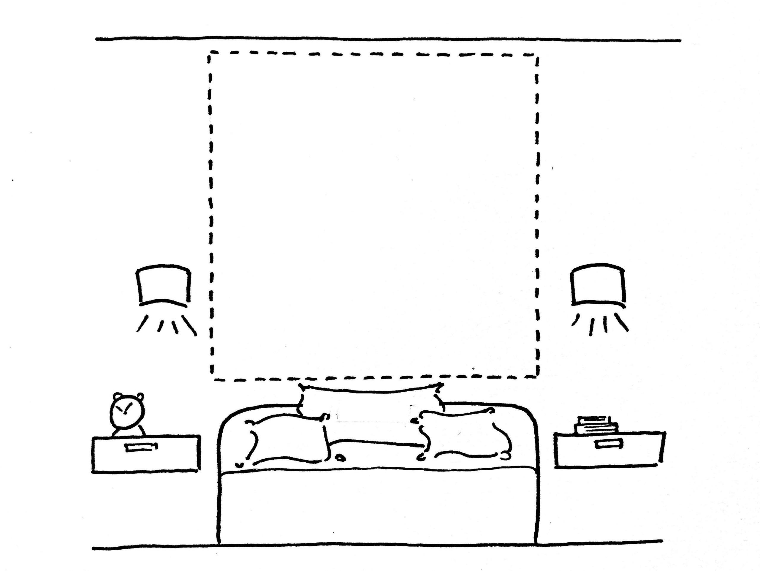 Pan de mur derrière le canapé