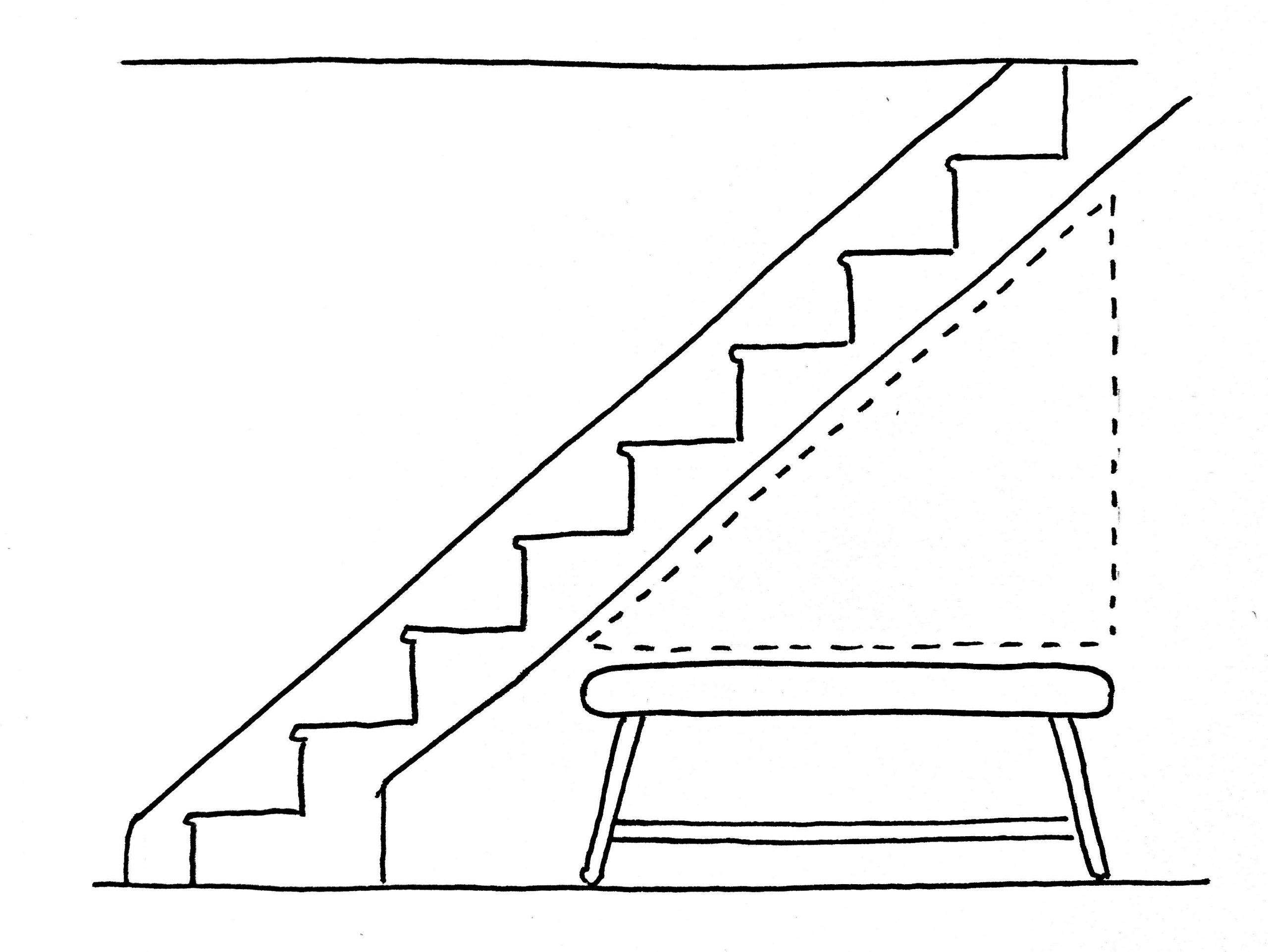 Pan de mur sous l'escalier
